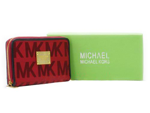 \u003c3 Only $47.99, Cheap Michael Kors Obvious MK Print Red Wallet Sale Online,