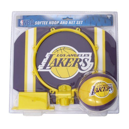 NBA Los Angeles Lakers Slam Dunk Softee Hoop Set Practice Your Dunking Technique While Showing Team Spirit With This X Backboard And Basketball