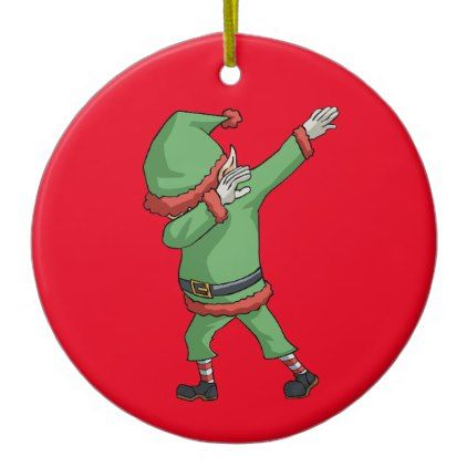 Dab Santa Elf Funny Novelty Christmas Gift Items Ceramic Ornament - diy cyo customize create your own #personalize
