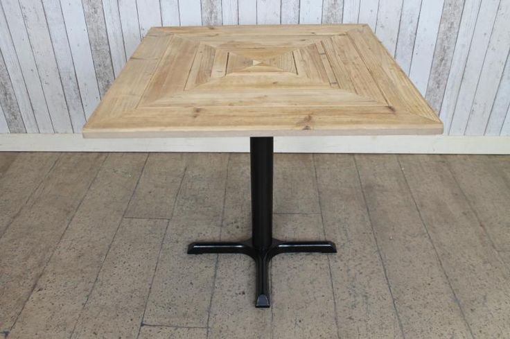 MADE TO ORDER SMALL SQUARE KITCHEN TABLE WITH PEDESTAL BASE AND RECLAIMED TOP