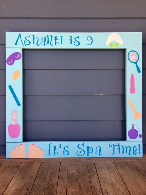 Spa themed photobooth frame prop perfect for a young lady's birthday party!