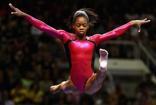 MAKING HISTORY: London 2012:  Gabby Douglas just won a gold medal and became the first African-American to win the gymnastics all-around title.