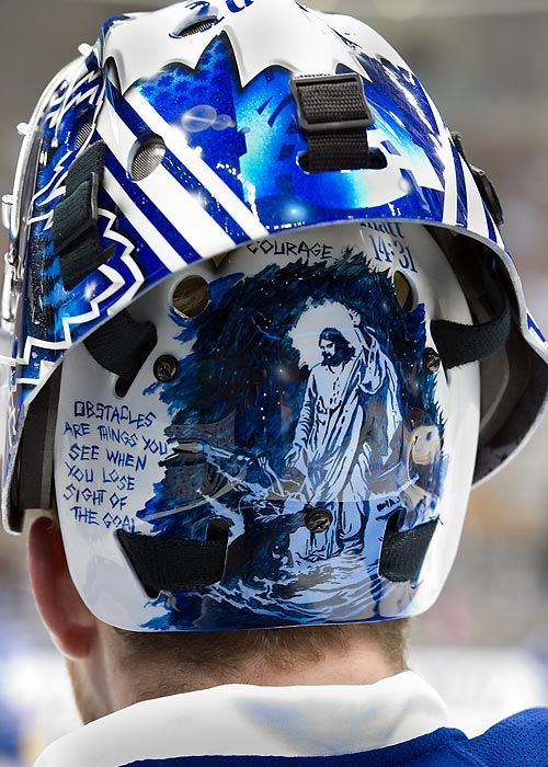 """James Reimer of the Leafs with a display of his faith on his backplate.  Matthew 14:31 ""Immediately Jesus stretched out His hand and took hold of him, and said to him, ""You of little faith, why did you doubt?"""""