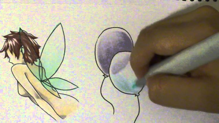 How to Color Transparent Objects with Copics - Excellent tutorial on how to color wings on a fairy, two ballons and a sheer piece of material (sleeve on a dress)