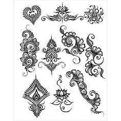 EARTH HENNA-Stencil Transfer Pack. The leaders in temporary body art for fifteen years. Create beautiful designs with these beautiful designs. This package contains one stencil transfer sheet and one