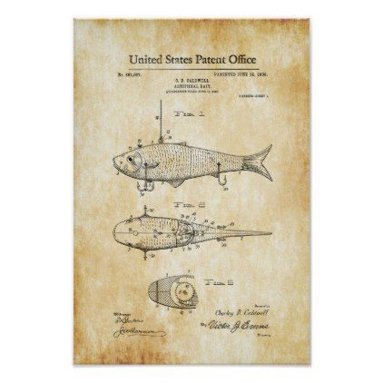 """United states patent office"" vintage lures"" fish"" Poster - office decor custom cyo diy creative"