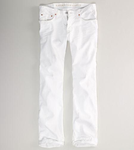 "Rugged cotton denim, Sits below the waist, Straight fit through the thigh, 17"" leg opening, Clean white wash More Details"