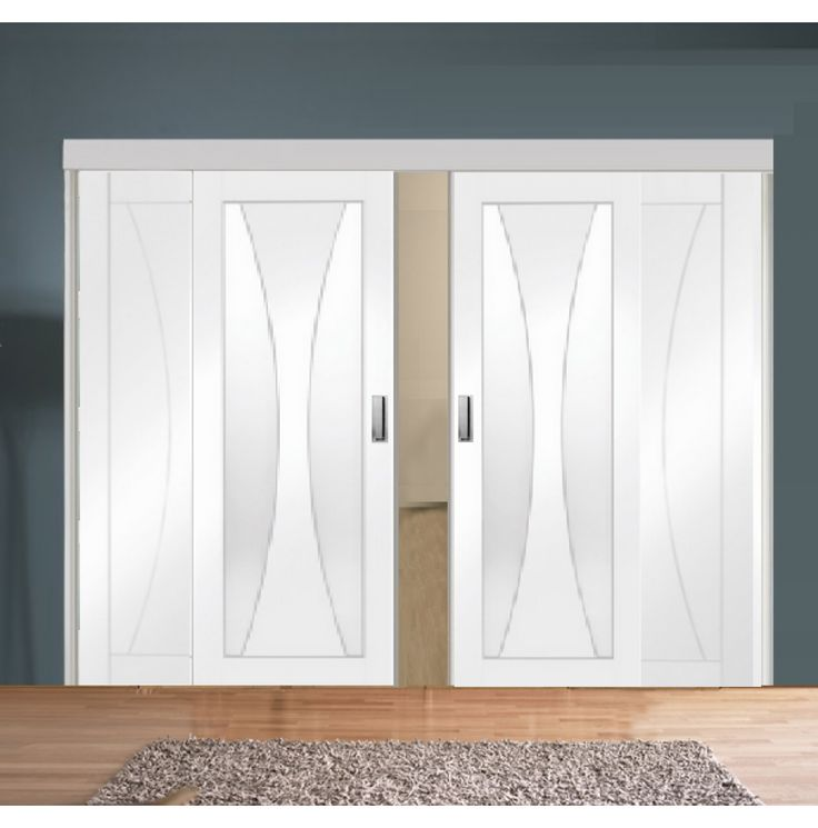 Sliding Room Divider with White Verona Glazed & Solid Panel Doors
