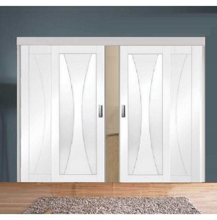 Sliding Room Divider with White Verona Glazed & Solid Panel Doors