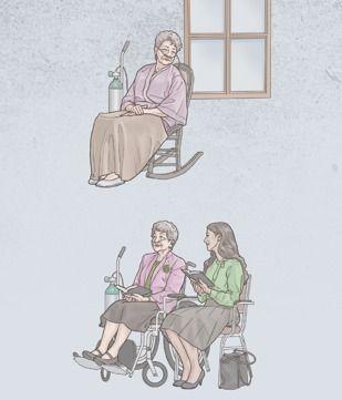 Una hermana, con oxígeno, está sentada sola, pero después asiste a una reunión con una hermana más joven