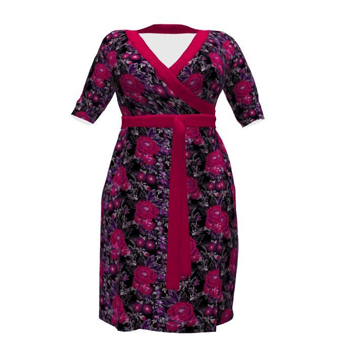 Cashmerette Эпплтон платье с конструкциями ли spoonflower на модели Стебль. Акварель . Красные цветы