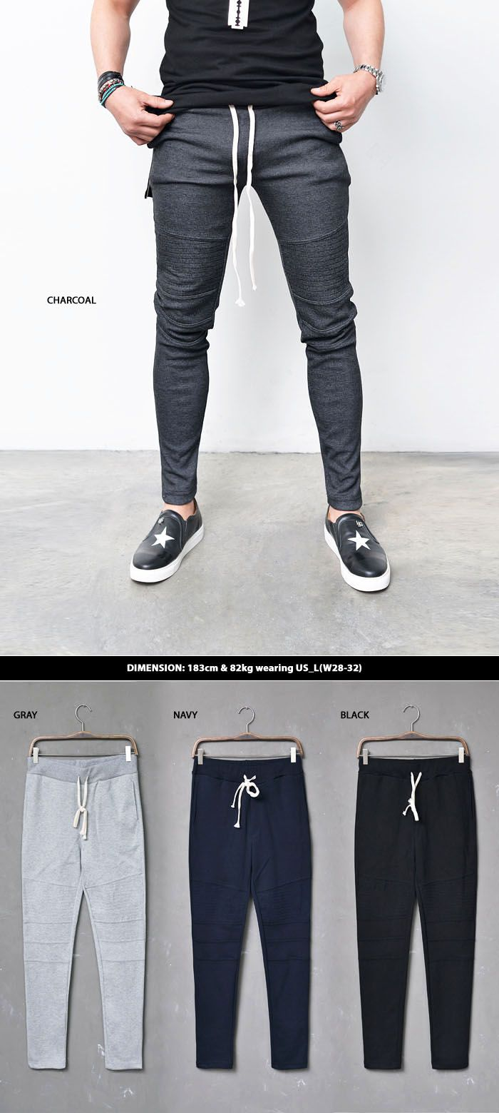 Bottoms :: Slim Fit Seaming Biker Jersey-Sweatpants 203 - Mens Fashion Clothing For An Attractive Guy Look