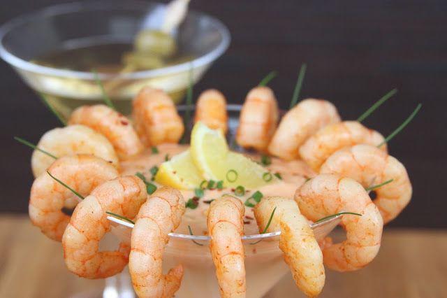 Shrimps with chickpeas dip    Krevety s dipem z cizrny a sušených rajčat - Aperi...