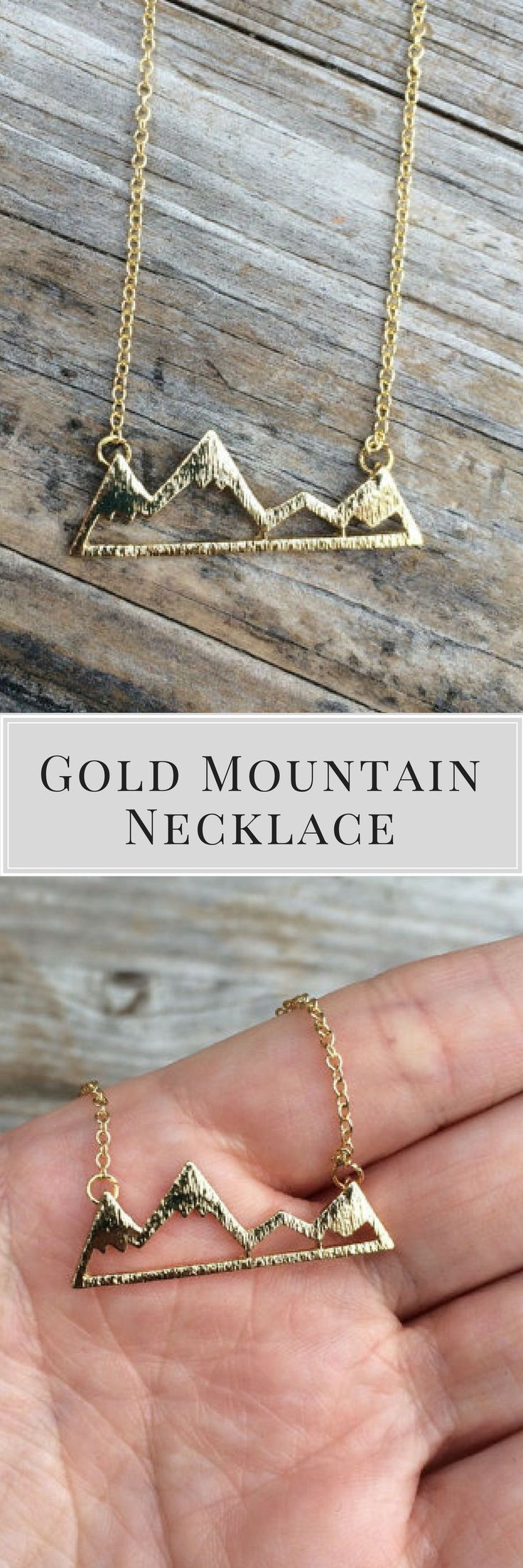 Gold Mountain Necklace, Mountain Charm Necklace, California Necklace, Northwest Necklace, Gift for her, 18k Gold, Womens fashion, Women's Fashion #giftideas #ad #womensfashion