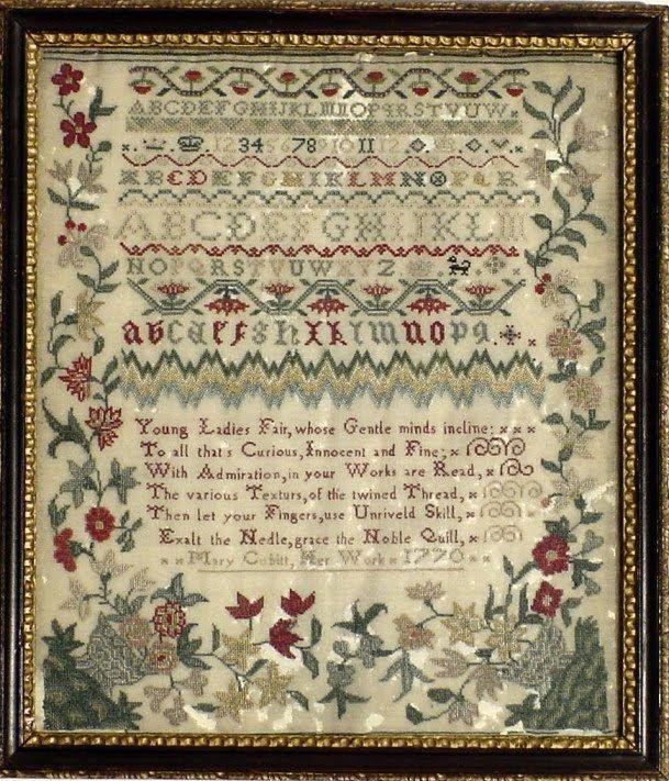 Antique Sampler, Mary Cobitt, dated 1770