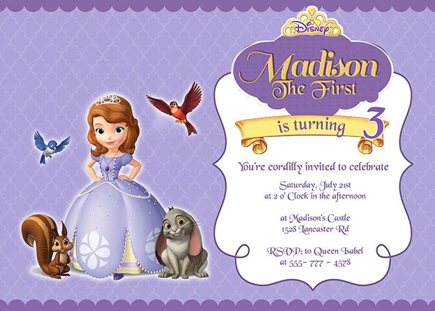 19 best images about princess party on pinterest cute for Sofia the first free invitation templates