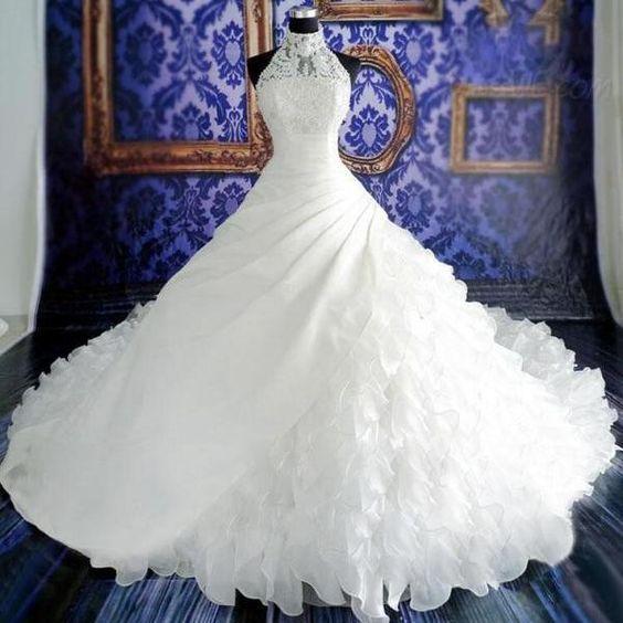 Custom-made !Charming Ball Gown High Neck Sleeveless Pearl Chapel Train Appliques Floor-Length Organza Wedding Dresses: