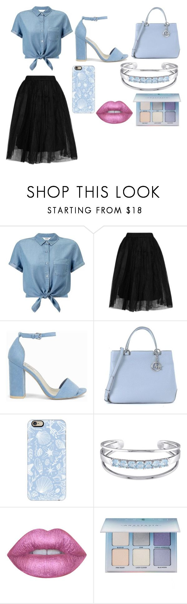 """""""Blue"""" by simina650 ❤ liked on Polyvore featuring Miss Selfridge, Topshop, Nly Shoes, Michael Kors, Casetify, Catherine Malandrino, Lime Crime and Anastasia Beverly Hills"""