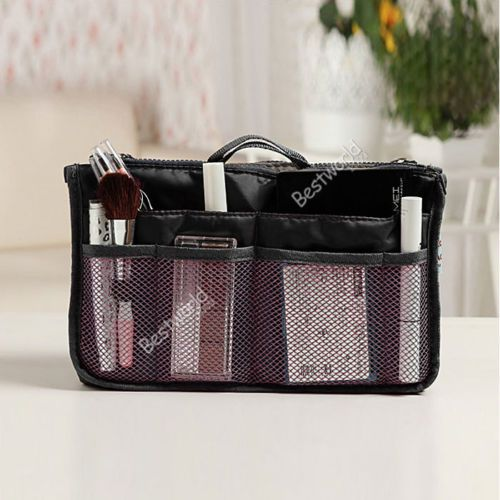 New Women Lady Organizer Organiser Travel Bag Purse Handbag Insert Large Tidy Makeup 10 Color (bx84)