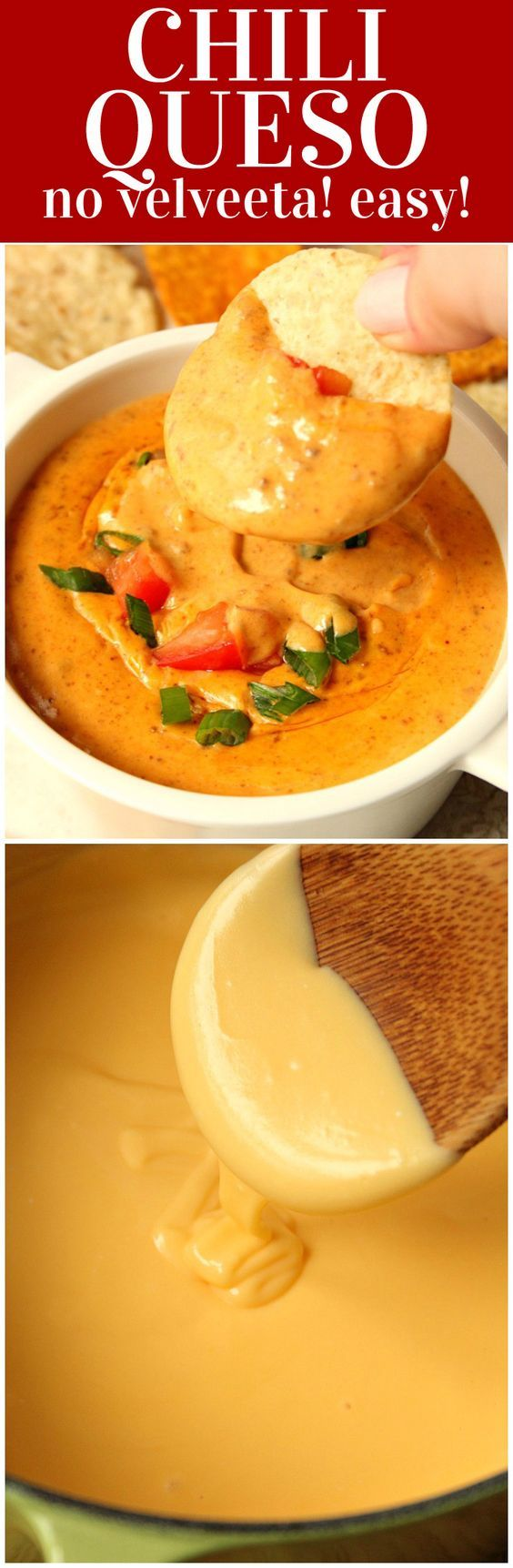 Chili Queso Dip Recipe - the best queso with chili made in 10 minutes! No Velveeta needed! A perfect dip for parties and game days!