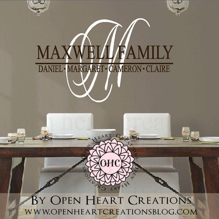 Best Open Heart Creations Wall Decals Images On Pinterest - Monogram vinyl wall decals