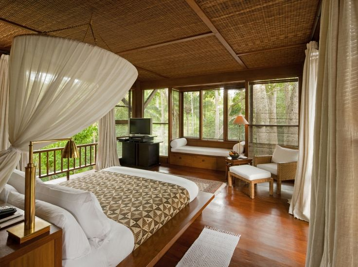 Decor bamboo roofing wooden floor eco friendly bedroom for Eco friendly bedroom ideas