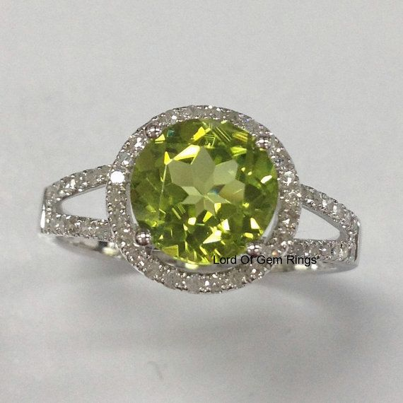 Peridot with Diamonds Engagement Ring in 14K White Gold by TheLOGR