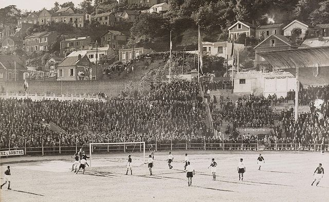 A National Archive of the Netherlands (Nationaal Archief) photo of the 1938 World Cup game between Czechoslovakia and the Netherlands, played in Reims, France on June 5th, 1938. Czechoslovakia won 3-0 but went out to Brazil in the quarter-finals.