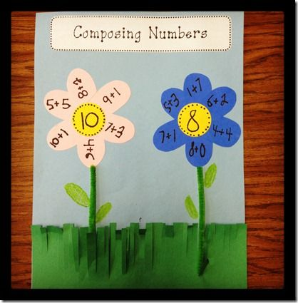 I had the kids pick two numbers…between 10-15…and write the different ways to compose that number on flower petals.
