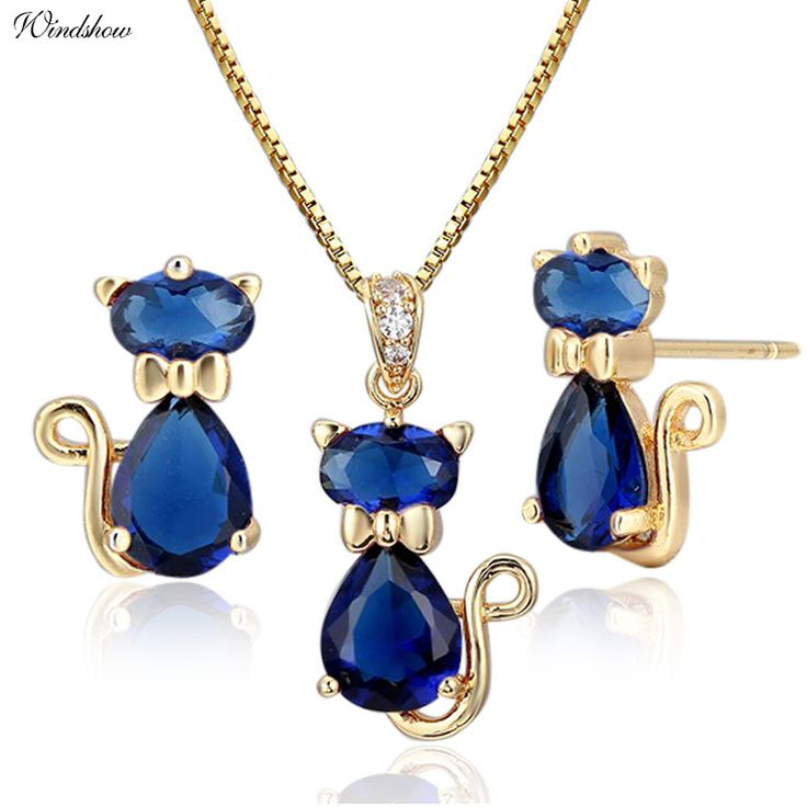 Kitty Cat Necklace & Earrings Jewelry Set. Gold Color, Dark AAA Blue CZ Jewelry. Great for kids!