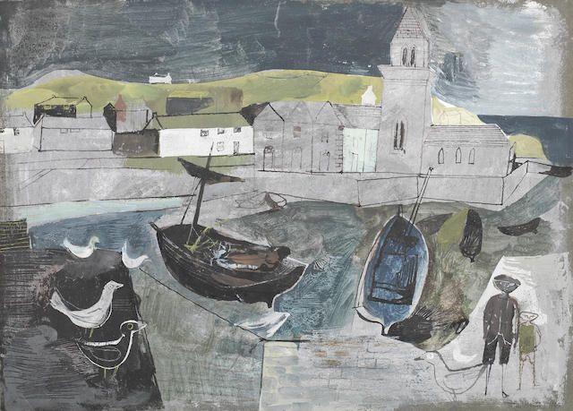 John Minton (British, 1917-1957) Mevagissey, Cornwall 28 x 38.1 cm. (11 x 15 in.)