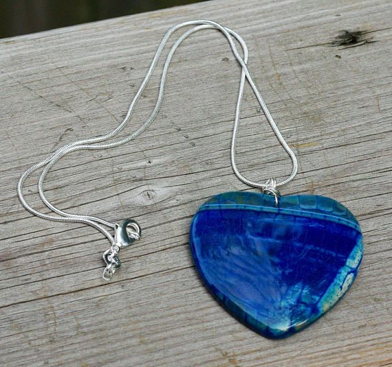 Blue and Turquoise Heart Dragon Vein Agate Stone Pendant on