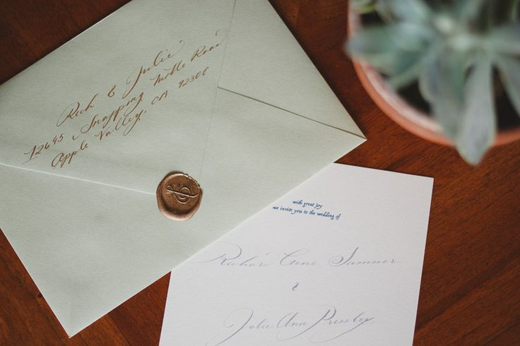 Gold wax seals and calligraphy / wedding envelopes & invitations by The Wayfaring Shop
