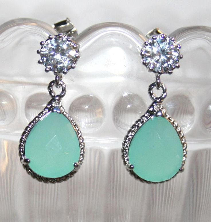 Statement Rhinestone  Ice Mint Pear drop Earrings, Wedding Statement Jewelry, Cubic Zirconia Mint Earrings