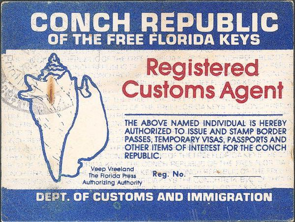 On April 18, 1982, the United States Border Patrol set up a roadblock just south of Florida City, on U.S. Highway 1, to catch illegal immigrants traveling to and from the Florida Keys. In response, after five days of ensuing traffic congestion and intrusive behavior by the Border Patrol, the people of Key West staged a mock secession from the United States and established the Conch Republic on April 23.