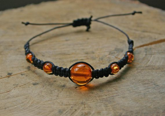 Bracelet Amber adjustable summer/spring gemstone braided by TriouZ, £7.89
