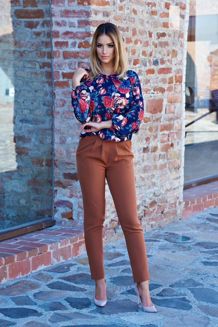 Pantaloni LaDonna Stylish Fitting Brown. Pantaloni LaDonna din stofa neelastica…