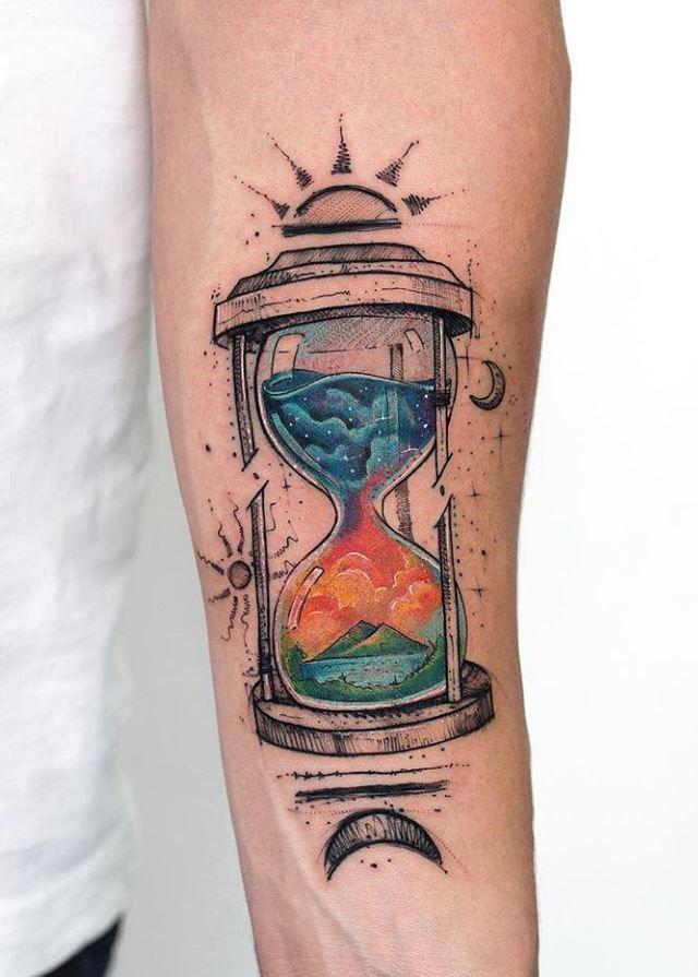 Colorful Hourglass Tattoo