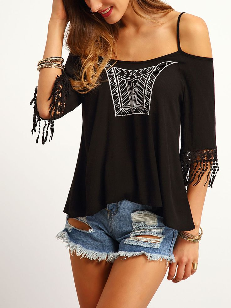 Shop Black Cold Shoulder Embroidered Top online. SheIn offers Black Cold Shoulder Embroidered Top & more to fit your fashionable needs.