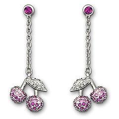 Raspberry Cherries Earrings #swarovski