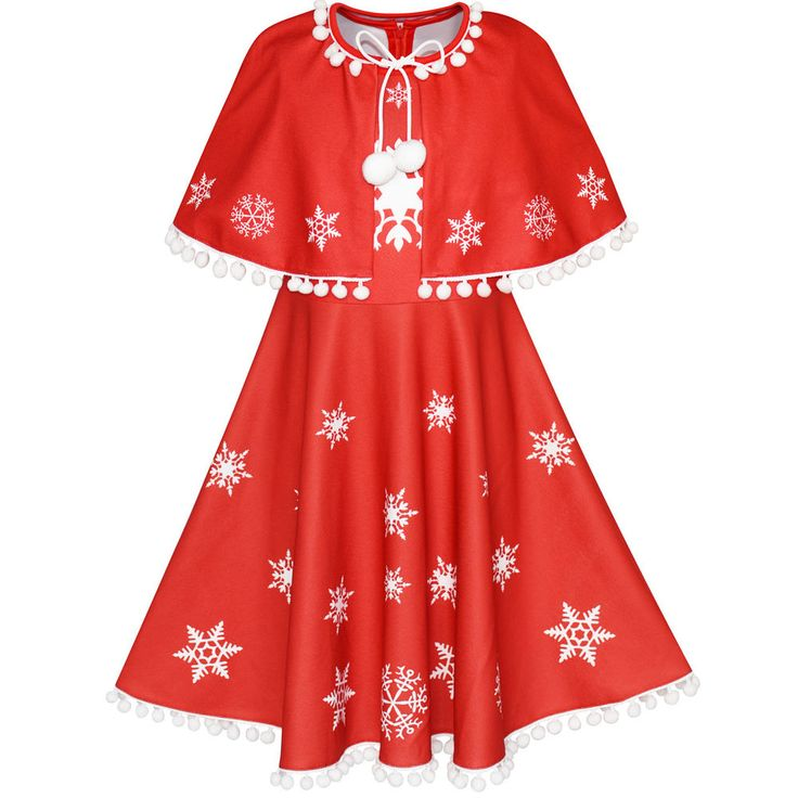 Flower Girl Dress Red Cape Cloak Christmas New Year Holiday Party Age 4-14 Years