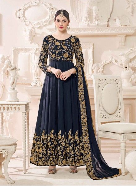 Navy Blue anarkali suit  https://www.gravity-fashion.com/navy-blue-embroidered-party-wear-kalidar-suit-in-georgette-a18204.html
