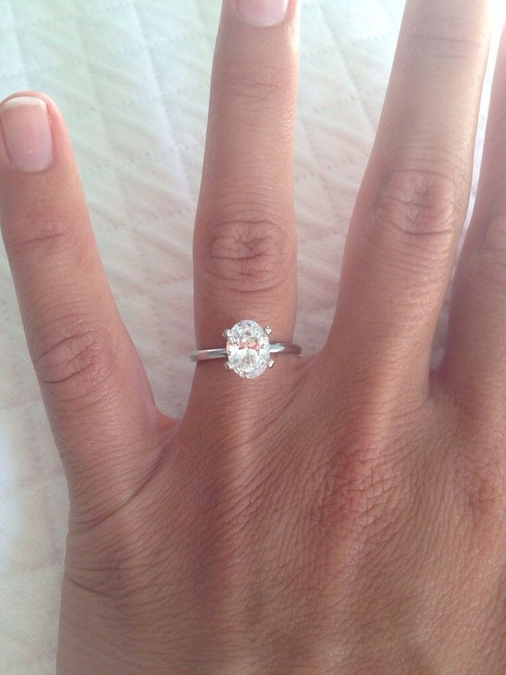 1.5 carat oval solitaire with 14 carat white gold band (1.7 mm width):