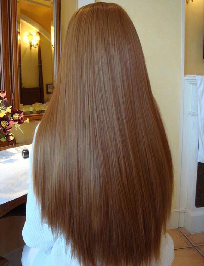 Straight Brown Waist Length Curve Cut Strong Thick And