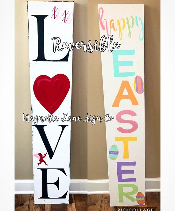 Happy Easter Porch Sign Reversible Porch Sign Easter Porch Sign Valentine S Day Porch Sign Easter Wood Signs Porch Signs Diy Holiday Decor
