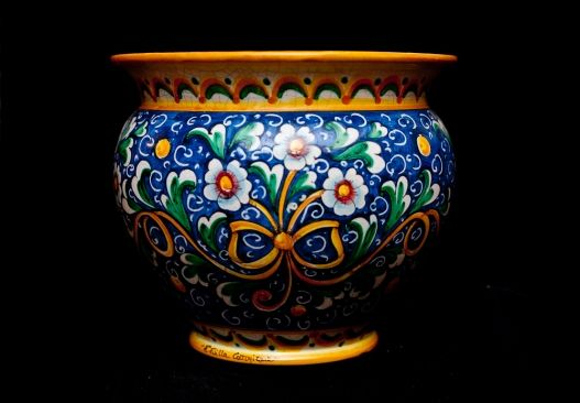 ceramic - pottery - Touch of Sicily |  Italy - Ribbon Planter This wonderful planter features a center enriched by flowers bound together by a yellow bow; from such central ribbon many volutes cover the entire piece of art. On the top and on the bottom elegant yellow and green arches can be found.