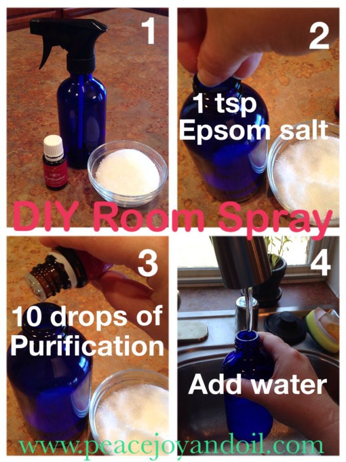 DIY Room Spray- drop Epsom Salt into the bottom of a bottle. With precision, drop essential oil liquid onto the salt. Add filtered water