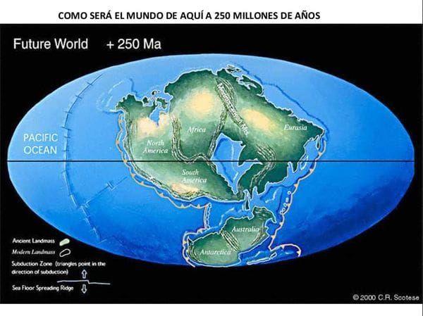 Se predice que en unos 250 millones de años, las masas continentales estarán nuevamente reunidas en un nuevo estadio de supercontinente