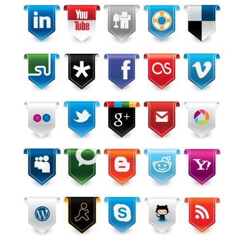 New Social Media Icon Set- This social media icon set was created in Illustrator CS5 and contains 25 scalable vectors complete with semi-transparent shadows for use on various types of backgrounds