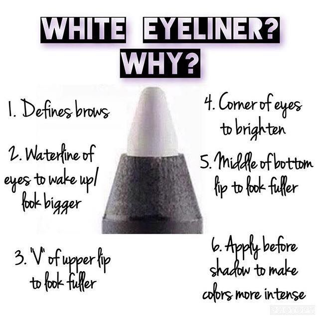 White eyeliner is a beauty secret with many uses! Order yours today at www.gratefulgirllashes.com #makeup #eyeliner #younique